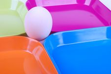 Free Egg And Colorful Plates Stock Image - 7066011