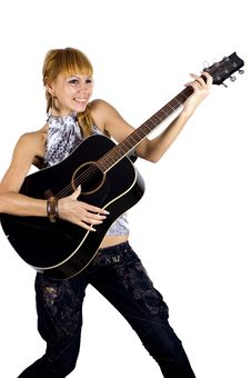 Free Happy Girl With Guitar Royalty Free Stock Image - 7066476