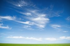 Cloudy Sky And Grass Royalty Free Stock Photo
