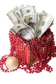 Free Money In A Red Gift Box Stock Photos - 7067993