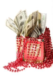 Free Money In A Red Gift Box Stock Photography - 7068002