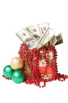 Free Money In A Red Gift Box Royalty Free Stock Photo - 7068005