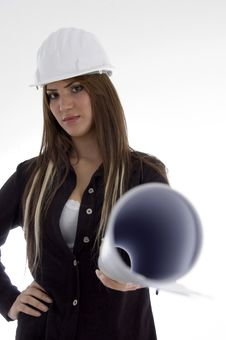 Free Stylist Female Architect Standing With Blue Prints Stock Image - 7068411