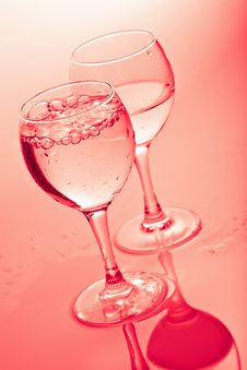 Free Water In Glasses Toned Pink Stock Image - 7068621