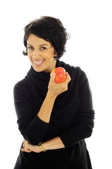 Free Woman With Apple Royalty Free Stock Photos - 7068688