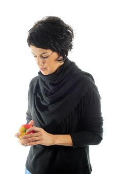 Free Woman With Apple Stock Photos - 7068693