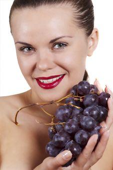 Beautiful Girl And Grape Royalty Free Stock Photo