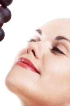 Beautiful Girl And Grape Stock Image