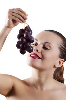 Beautiful Girl And Grape Stock Images