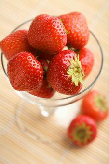 Ripe Strawberries In Glass Bowl Stock Photo