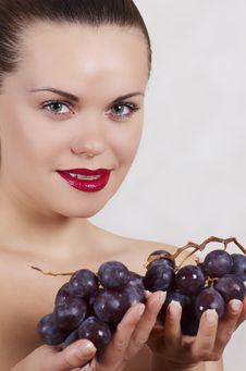 Beautiful Girl And Grape Stock Photography
