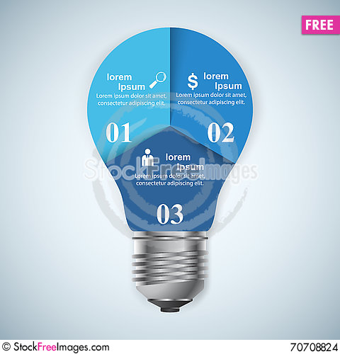 Free Business Infographics Origami Style Vector Illustration. Bulb Ic Stock Images - 70708824
