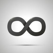 Black Simple Infinity Sign With Shadow On White Royalty Free Stock Image