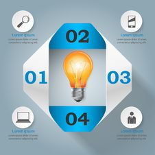 Business Infographics Origami Style Vector Illustration. Bulb Icon. Stock Images