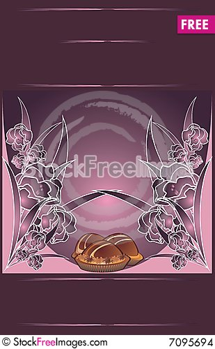 Floral background for wrapping. Chocolate candies. Cartoon Illustration