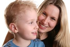 Free Boy With Mother Behind Royalty Free Stock Photo - 714335