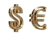 Dollar And Euro Symbols Isolated On White