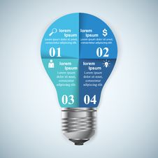 Business Infographics Origami Style Vector Illustration. Bulb Ic Royalty Free Stock Image