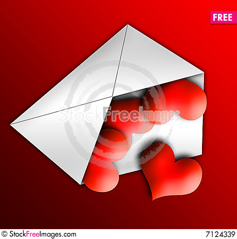 Hearts Letter, Valentine, Heart, Love Stock Photo