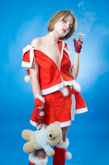 Free Smoking Mrs. Santa Stock Images - 7134594