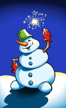 Snowman Holding Sparkler Royalty Free Stock Photo