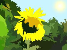 Free Jungle With Sunflower Painting Stock Photography - 7155012