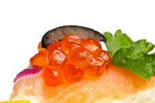 Canape With Red Caviar Royalty Free Stock Photo