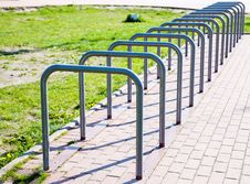 Parking Space For Bicycles Royalty Free Stock Images