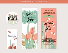 Wedding Invitation Card With Romantic Flower Templates Stock Photography