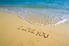 Free I Love You On The Beach Royalty Free Stock Photo - 71850495