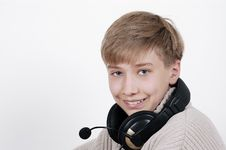 Free Boy Listens To Music Royalty Free Stock Photos - 723228