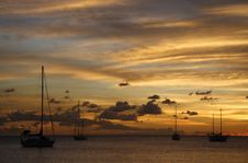 Free Golden Caribbean Sunset Cruise Stock Images - 723704