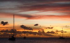 Free Golden Caribbean Sunset Cruise Royalty Free Stock Photo - 723855