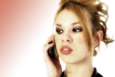Beautiful Hispanic Woman On Cellphone Stock Photography