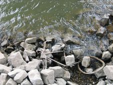 Bicycle Remains In A River Royalty Free Stock Photography