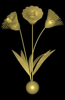 Free Golden Flower 002 Royalty Free Stock Photo - 728025