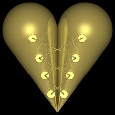 Free Golden Heart 004 Royalty Free Stock Photography - 728037
