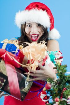 Teenager With Christmas Gifts Royalty Free Stock Photos