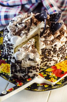 Cake With Cream And Chocolate Stock Image