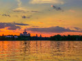 Free Vibrant Colorful Sunset On The Lake From Bucharest Stock Photography - 72309762