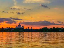 Vibrant Colorful Sunset On The Lake From Bucharest Stock Photography