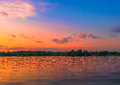 Free Vibrant Colorful Sunset On The Lake From Bucharest Stock Images - 72311794