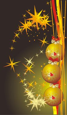 Free Yellow Christmas Balls. Background For Card Stock Photography - 7260682