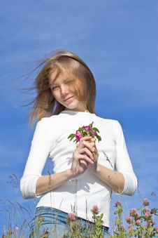 Free Young Woman Holding Flower Royalty Free Stock Image - 7276796
