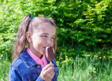 Free Girl Eating Ice Cream Royalty Free Stock Image - 72851596