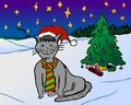 Free Happy Christmas Cat With Christmas Tree Stock Images - 7290684