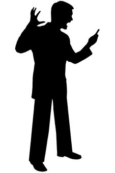 Free Black Silhouette Man On White Royalty Free Stock Photo - 730905