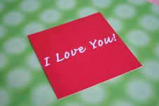 Free Red Card Love Message Stock Photo - 736010