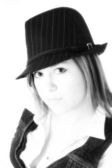 Beautiful Young Woman In Pin Striped Hat Royalty Free Stock Photos
