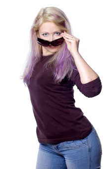 Free Pretty Girl With Violet Hair Royalty Free Stock Image - 736886